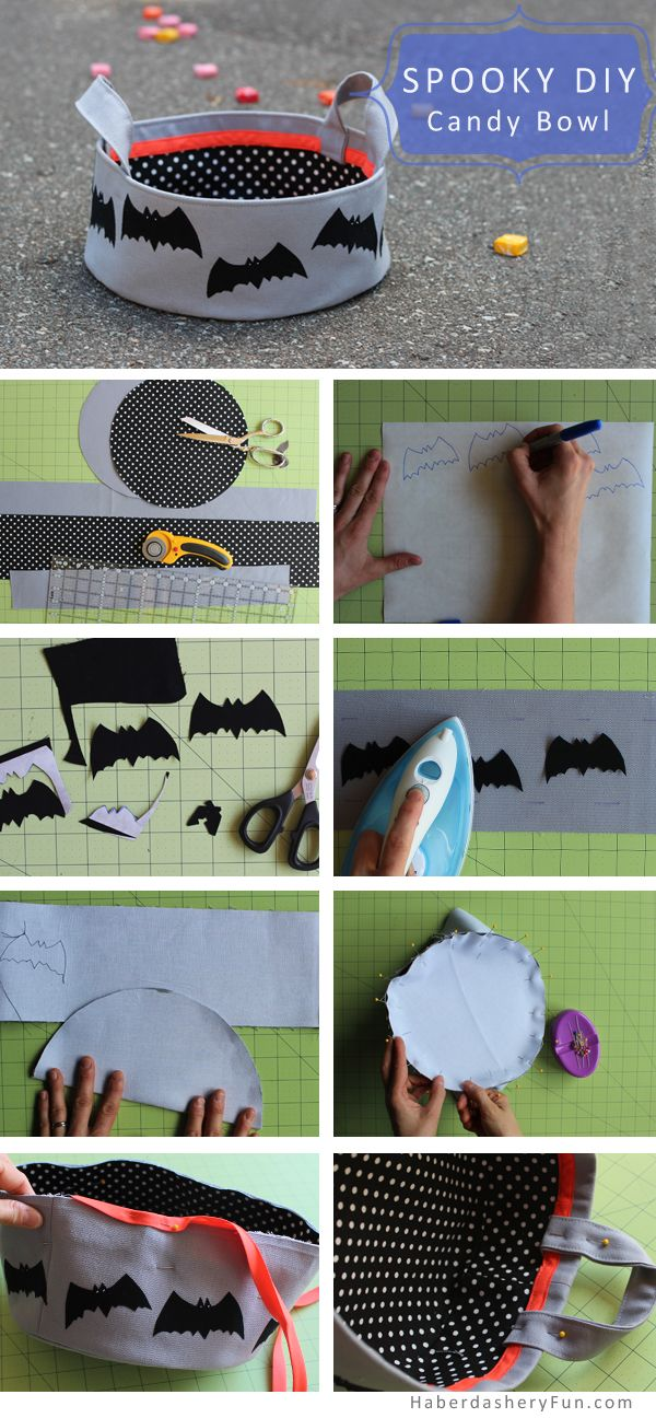 DIY.. Halloween Candy Bowl. Spooky fabric bowl. Tutorial at HaberdasheryFun.com blog.