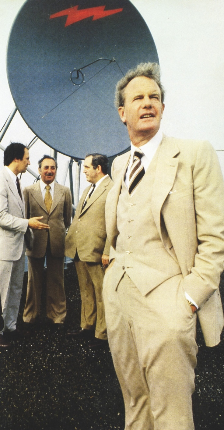 Ted Rogers visits the site of the first head-end for Rogers Cable, in Toronto, 1979.