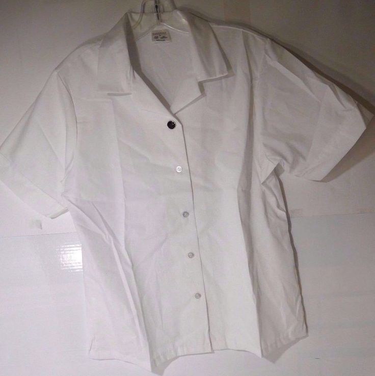 Superior Women's Button-Down Oxford Shirt Short Sleeves White Cotton Blend #SuperiorUniformGroup