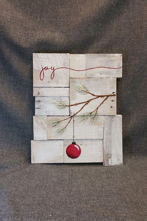 Rustic Christmas decor, Christmas Joy, Pallet art, Farmhouse decor, One of a kind, ORIGINAL, Hand painted, Shabbt chic, Distressed