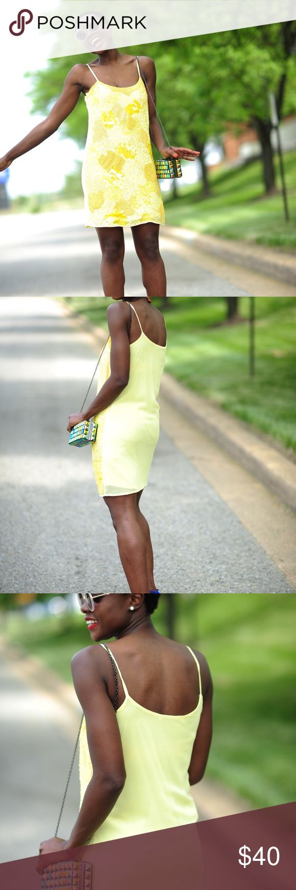 Yellow sequin dress Awesome color for summer Zara Dresses Mini