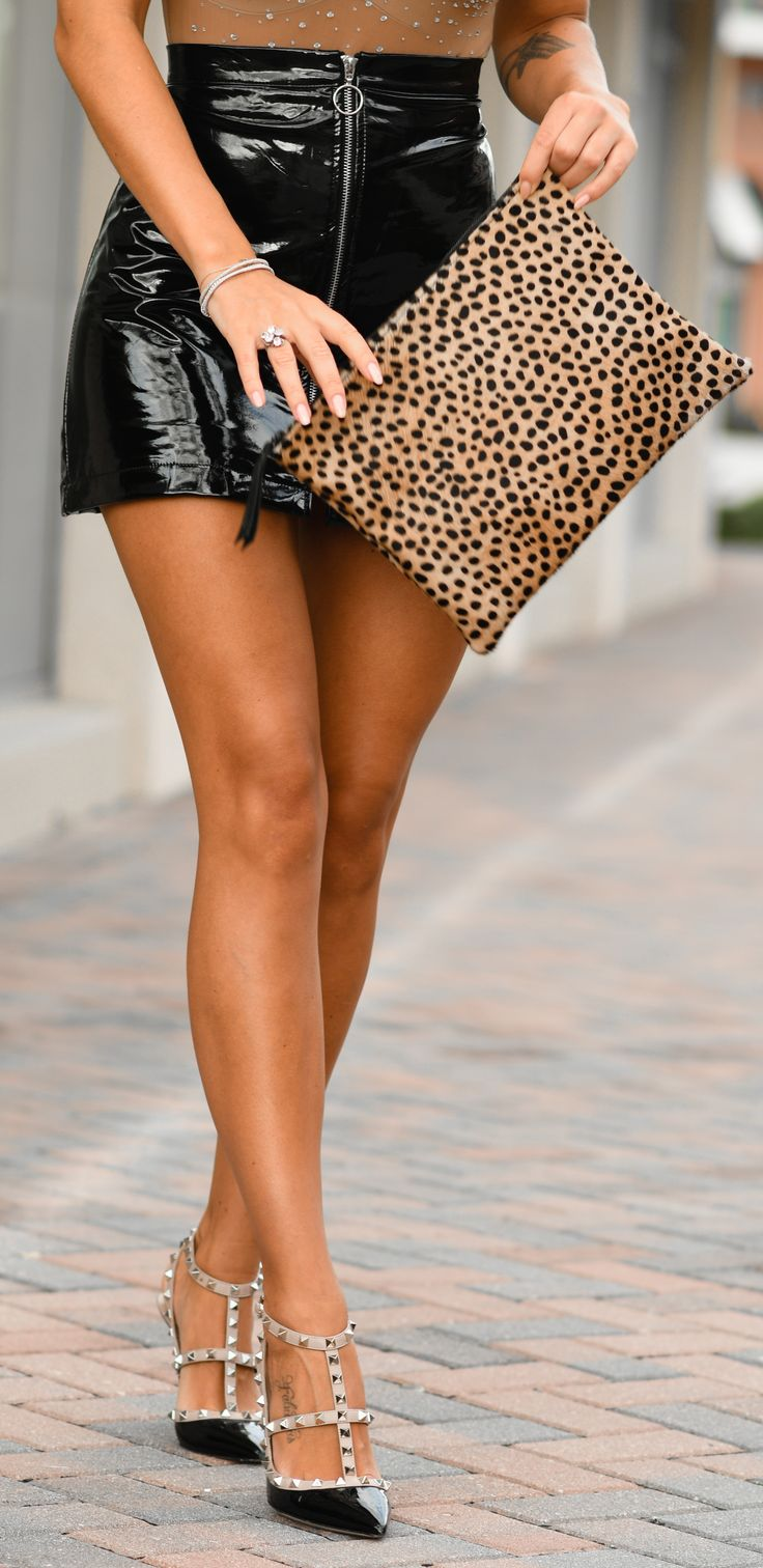 Patent and leopard with Valentino Rockstud heels