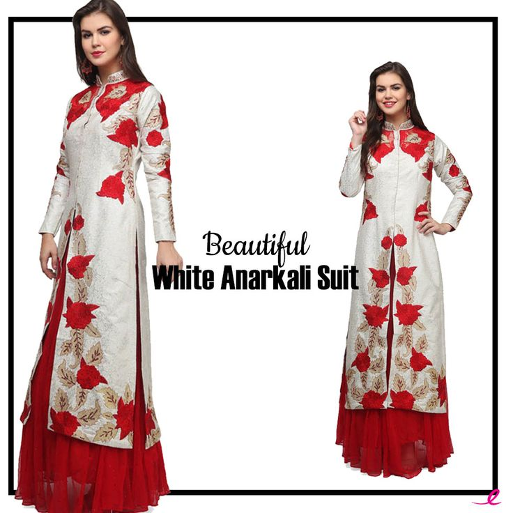Treat the women in you with this super chic #Anarkali suit in red and white colour.