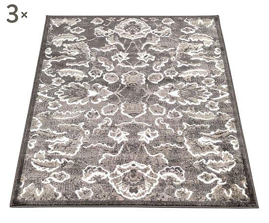 Parure di tappeti heatset Floreale grigio scuro 3 pz