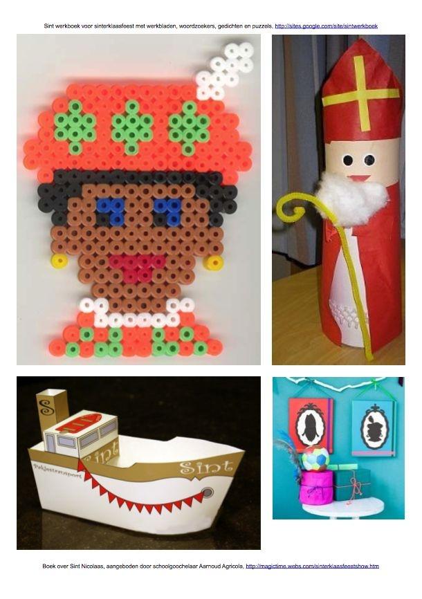 Zwarte Piet van #strijkkralen, #Sinterklaas van rol, #bouwplaat #stoomboot, silhouetten van #Sint en #Piet