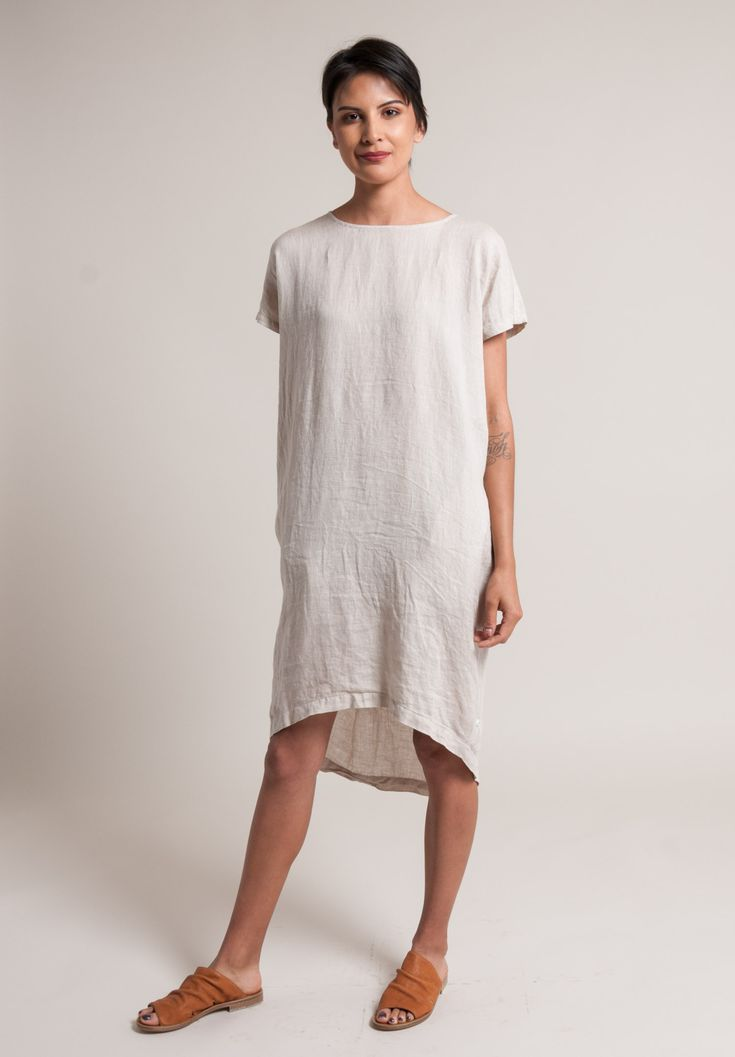 Linen Pleated Cocoon Dress in Oatmeal