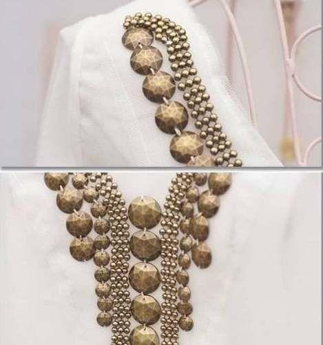 camisa bata bordada pedraria branca preta luxo blusa