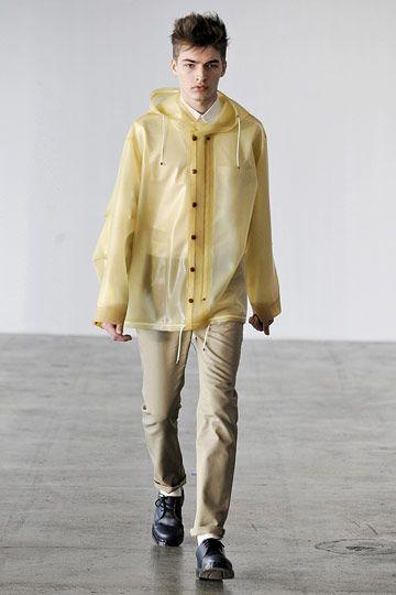 Man wearing transparent latex jack