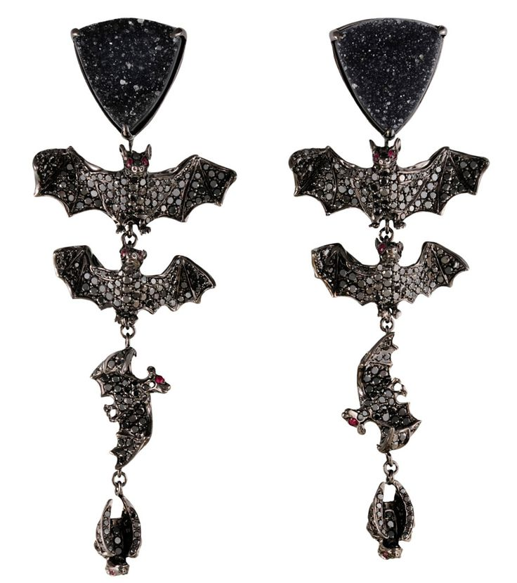 "Lydia Courteille ""Bat"" earrings in black diamonds, drouzy agate, rubies and blackened gold. From the ""Black Mass in Paris"" collection."
