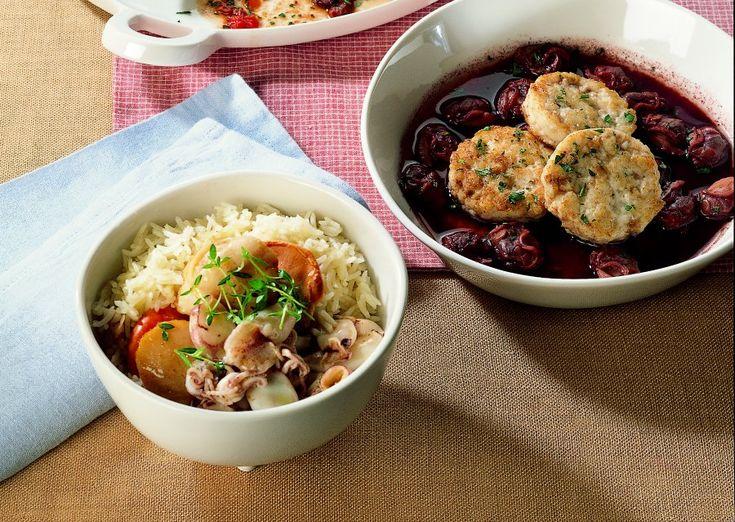 Capesante e calamaretti con riso basmati