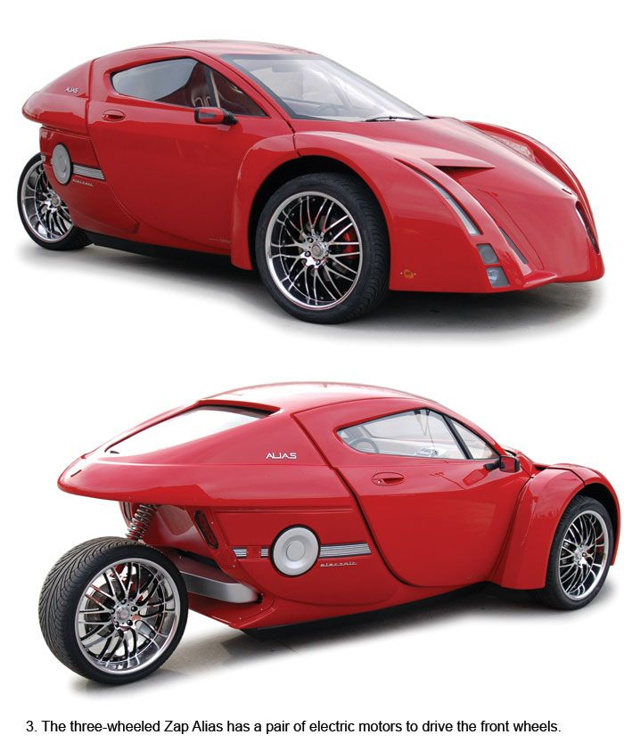 "ZAP three-wheeled electric sports car.  ""The enviromentally friendly ZAP Alias does 0 to 60mph in just 5.7 seconds with a top speed of 156mph. The futuristic-looking two-seater is being developed with the help of British car company Lotus."""