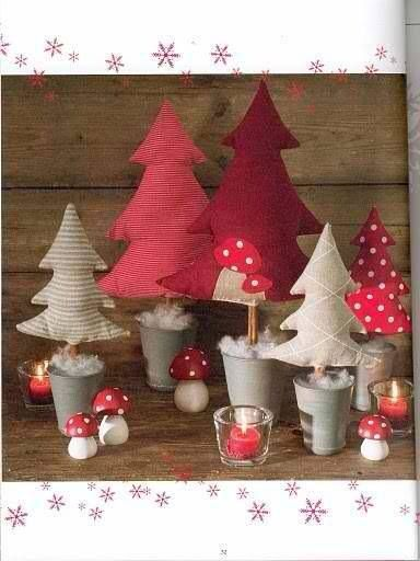 christmas crafts - fabric trees with cinnamon sticks in little tin pots.