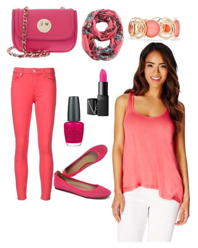 """""""pink"""" by fabulouschloe on Polyvore featuring JustFab, 7 For All Mankind, Hill & Friends, J.Crew, OPI, New Directions and Cozy by LuLu"""
