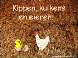 Digibordles: Kippen, kuikens en eieren. Eerst tel je de eieren, daarna legt de kip er nog een ei bij. Hoeveel eieren liggen er dan. Vervolgens komt er een kuiken uit het ei. Hoeveel eieren liggen er dan nog in het nest? Tellen, één erbij en één eraf. http://digibordonderbouw.nl/index.php/themas/lente/lentedigibordlessen