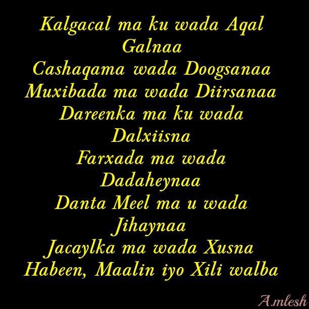 Kalgacal Ma Kuwada Aqal Galnaa Caashaqana Ma Wada