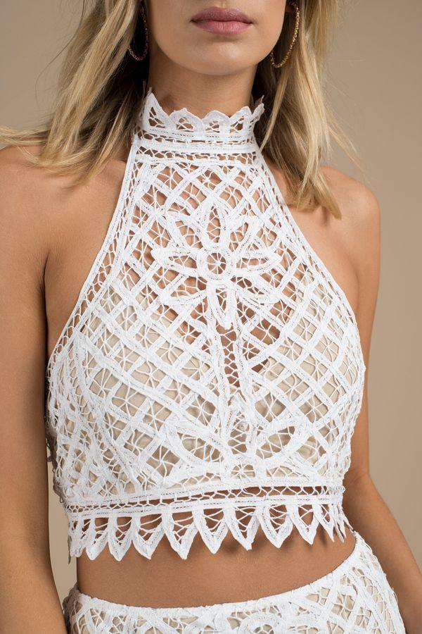 2dd99c50148d6e Lust For Lace White Halter Crop Top