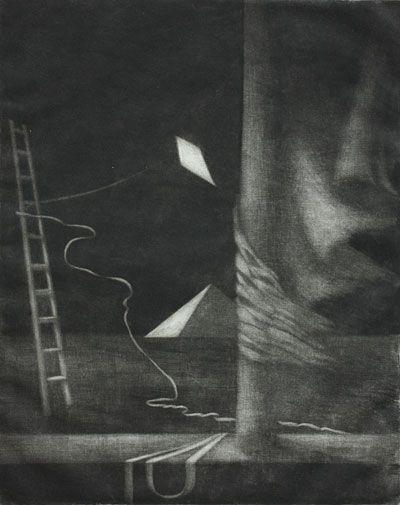 Yönäytös - Night Show. Leena Talvitie 1983. Printmaking, mezzotint.