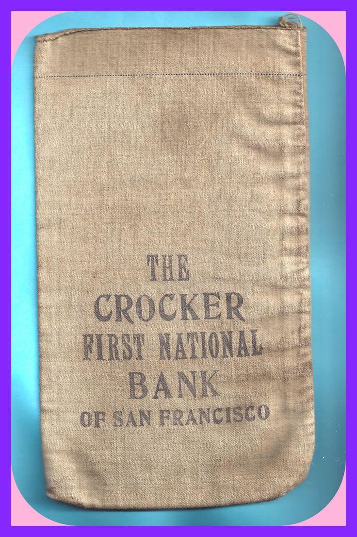 Vintage coin money bag canvas cotton crocker first