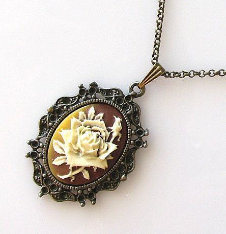 cameo necklace victorian cameo jewelry long by KriyaDesign on Etsy