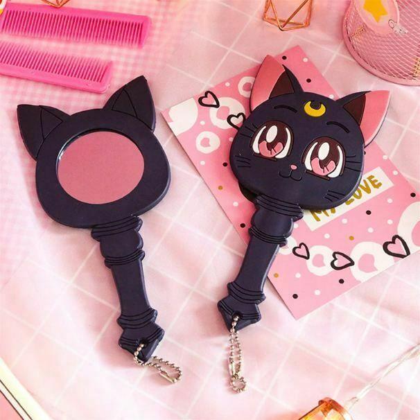 Sailor Moon Luna Purple Cat Make Up Mirror Handle Portable Cosplay Anime Gift
