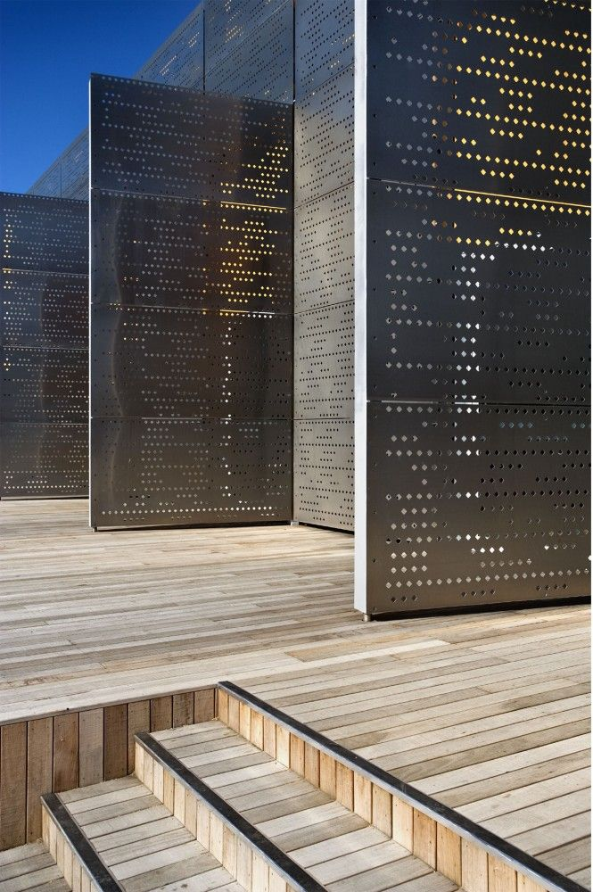 Laser cut aluminum panels create a texture on the building. By using paramets this rain screen can create a physical and visual texture on the structure. This isn't something you could have seen years past.