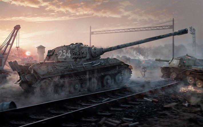 Download imagens Sei, 4k, E 75, SU-152, tanques, World of Tanks