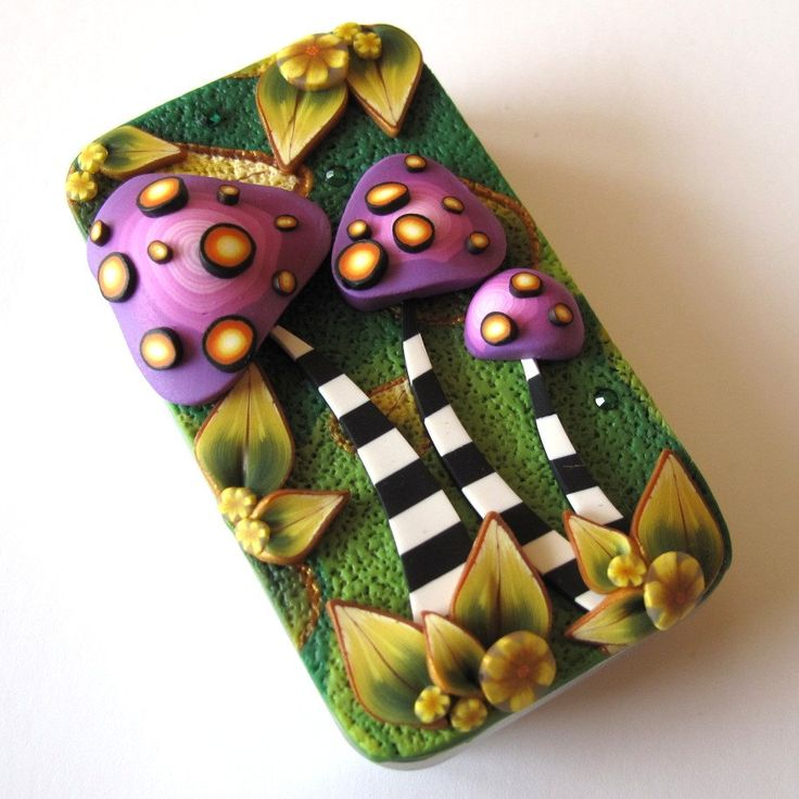 ClaybyKim Mushrooms Needle Case Slide Top Tin. $16.00, via Etsy.