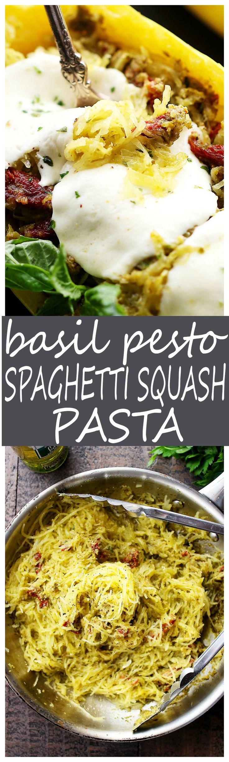 Basil Pesto Spaghetti Squash Pasta - An easy and healthy spaghetti squash pasta dinner tossed with basil pesto and sun dried tomatoes.