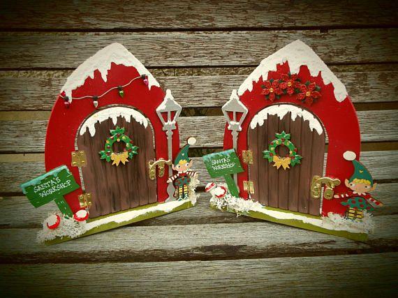Wooden CHRISTMAS ELF DOOR free standing hand-painted.