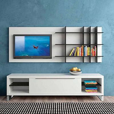 Contemporary Italian Design 'Seaside' TV Unit. Ultramodern, amazing and perfect with any colour. We like it with the blue, but it is good in any environment really. High quality materials.