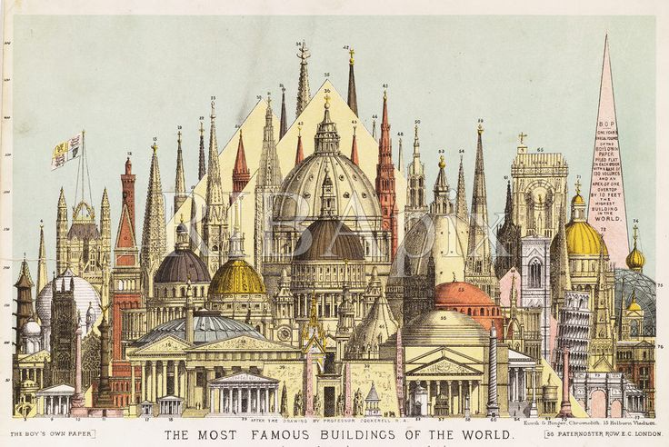 'The Most Famous Buildings in the World' (1880s) by Charles Robert Cockerell. A perfect evocation of the breadth of the RIBA's collections. KR. (The buildings depicted here include St Peter's Basilica, the Taj Mahal, Westminster Abbey, St Paul's Cathedral, Florence Cathedral, Bramante's Tempietto,The Pantheon, Pyramids, the Leaning Tower of Pisa, Crystal Palace, Victoria and Albert Museum and the Arc de Triomphe) [RIBA31368]