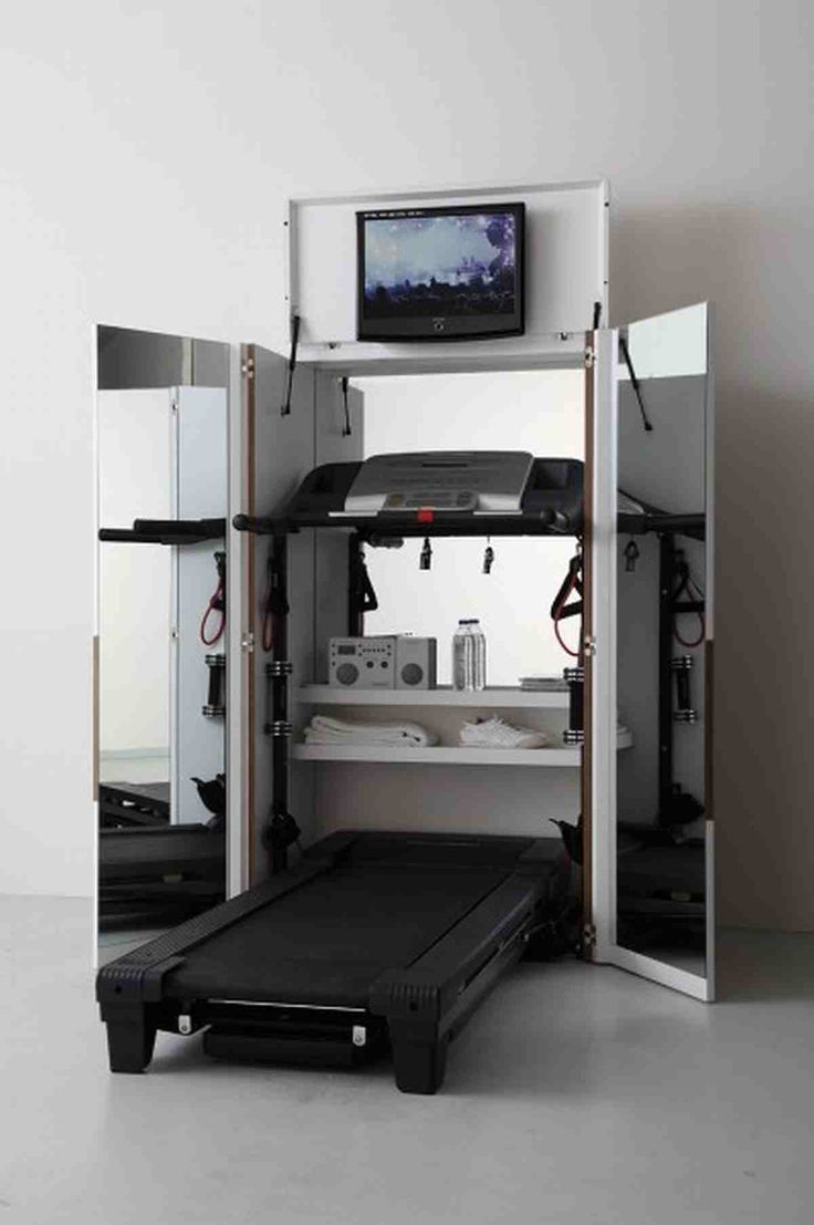 Images about gym s design on pinterest home gyms a gym and search - It S Awesome How Small This Home Gym Folds Up My Treadmill Folds And This Is Just What I Need