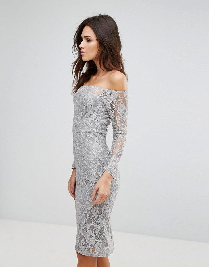 AX Paris Lace Bardot Midi Dress - Gray