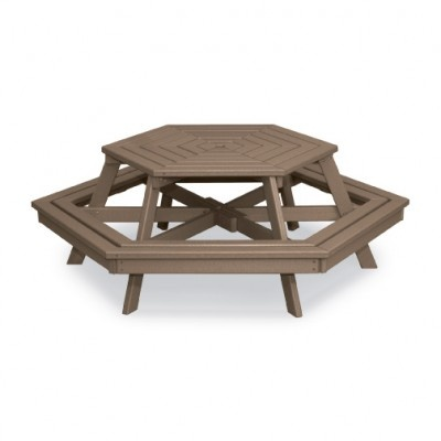 Hexagon Picnic Table Attached Bench Seats With Or