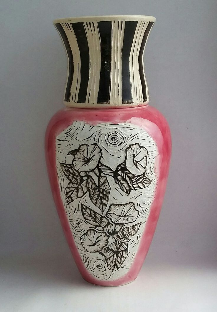 Sgraffito carved vase in pink panther glaze by artist Jennifer Steyn, South Africa