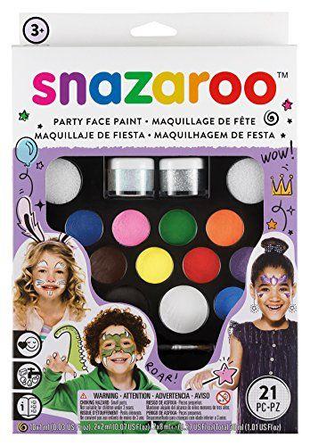 Snazaroo Schminkfarben Ultimatives Party Set, Schminkpalette mit 2 Pinsel, 4 Schw�mmchen & Anleitung in englisch, 2 Glittergel, 12 Farben