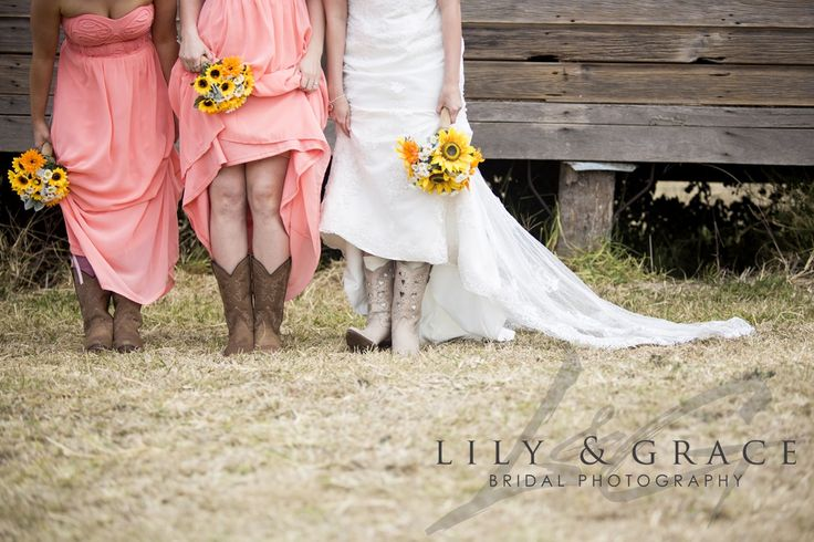 This is from my wedding - LOVE IT :) Country Wedding, Cowboy Boots, Sunflower Wedding, Coral Pink Bridesmaids, Daisy Wedding, Kilcoy Farmstay, QLD wedding, farm wedding Lily & Grace Bridal Photography