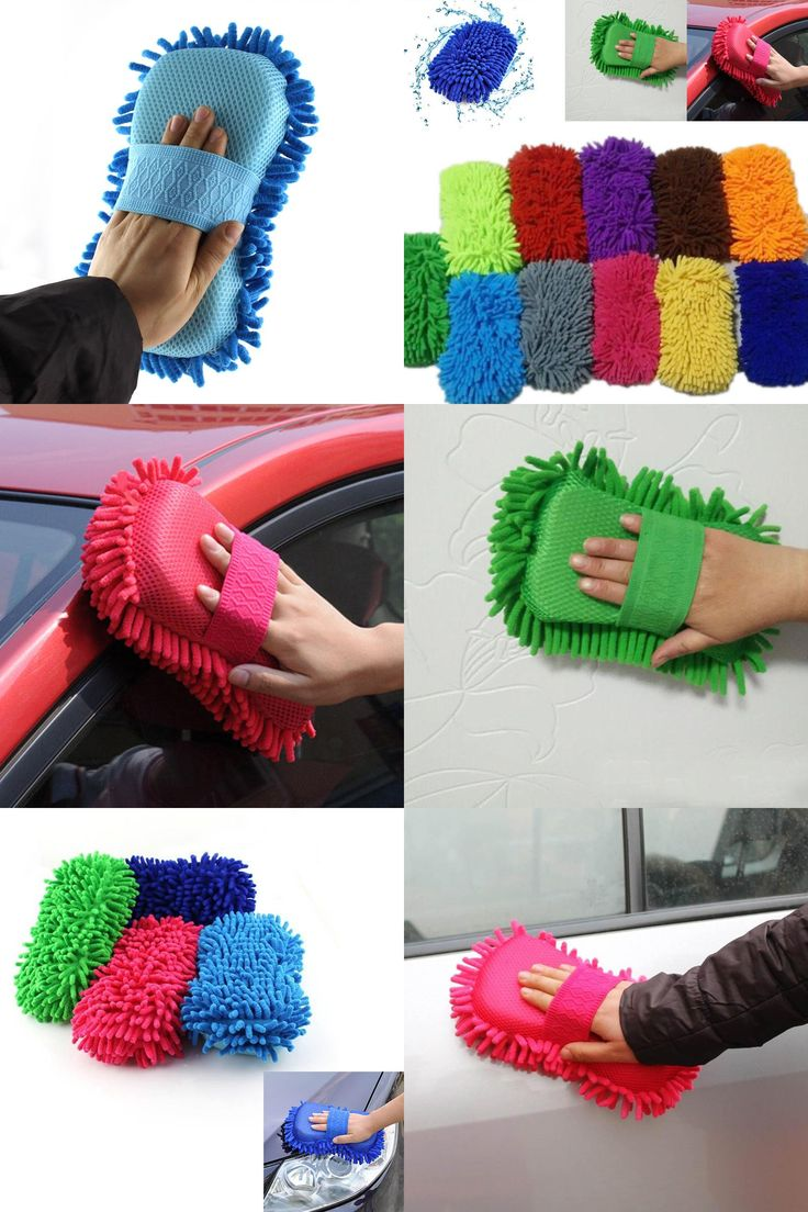 [Visit to Buy] 100% Brand New Car Wash Auto Hand Soft Towel Microfiber Chenille Anthozoan Washing Gloves Coral Fleece Sponge Car Washer TB Sale #Advertisement