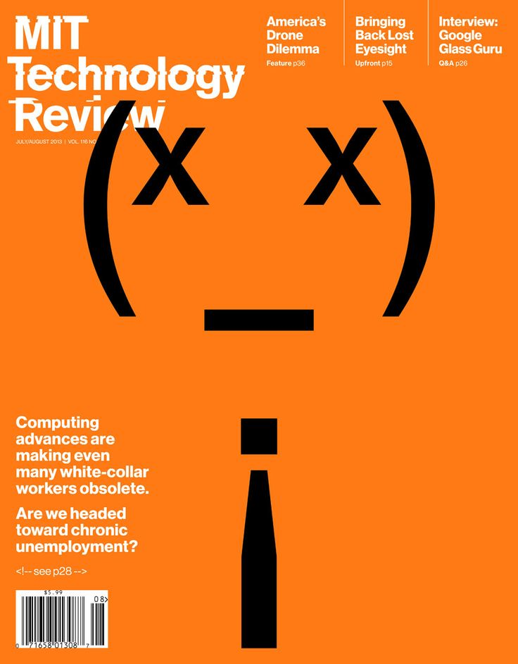 """""""Are We Headed for Chronic Unemployment?"""" Space-Invaders-inspired cover of the July issue of MIT Technology Review."""