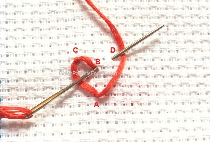 String of hearts - Chain stitch variation - hand embroidery tutorials