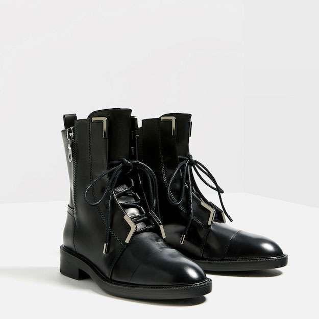 Zara Colección Calzado Otoño 2016: fotos de los modelos - Botines cordones Zara