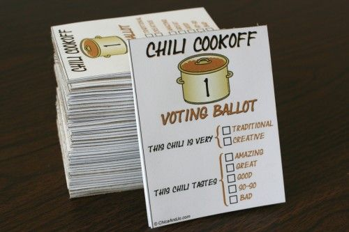 chili cook-off voting ballotsChilis Recipe, Chilli Cooking, Autumn Parties, Cooking Off Voting, Chilis Cooking Off, Voting Ballots Buuuut, Parties Ideas, Fundraisers Ideas, Chilis Cookoff Ballots 16 Jpg