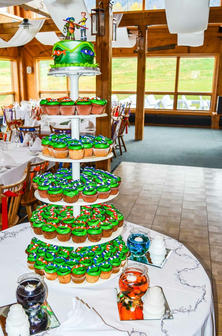 Ninja turtle themed cake & cupcakes! (Fortier Photography)