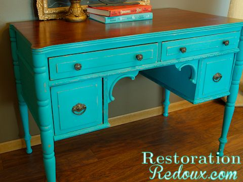 www.restorationredoux.com - Turquoise Desk love the look of paint with the natural wood together....classy