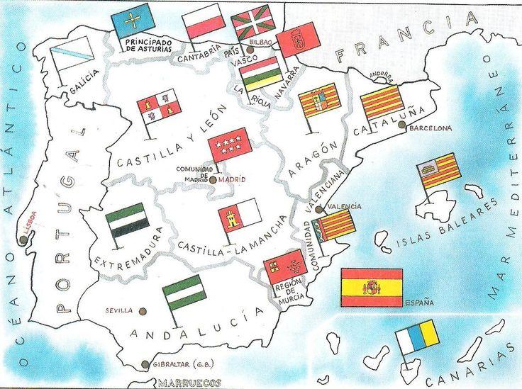 Mapa de las comunidades autónomas con sus respectivas banderas