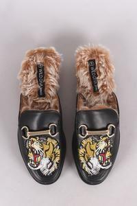 Wild Diva Lounge Embroidered Tiger Head Horsebit Mule Flat