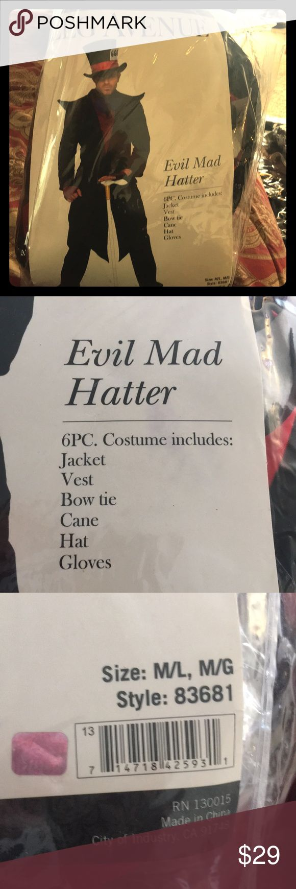 Male Halloween costume worn once! EVIL MAD HATTER 6 piece Evil male hatter HALLOWEEN costume worn once Other