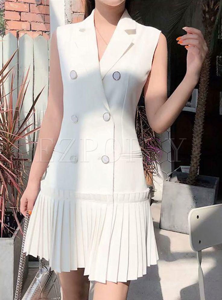 Dress Double Pleated Breasted Trendy Sleeveless –moda H2DIeWYE9b