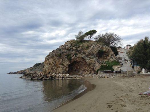 Kalymnos, Greece -- Kantouni Beach. Facing towards the rock.