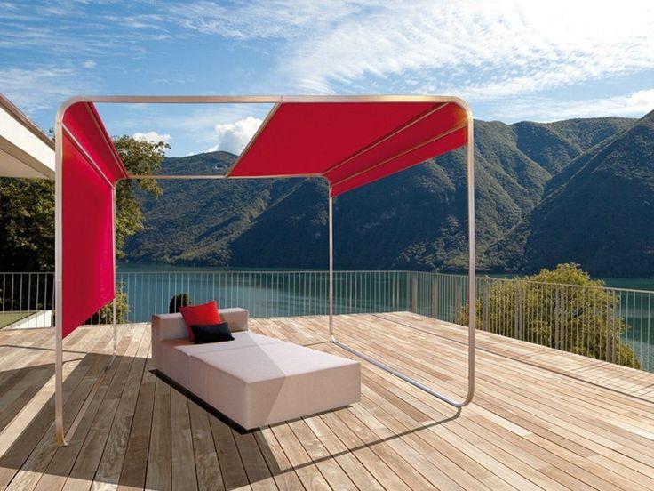 Tonnelle en acier inoxydable avec couverture coulissante ShangriLa by April Furniture | design Florian Asche